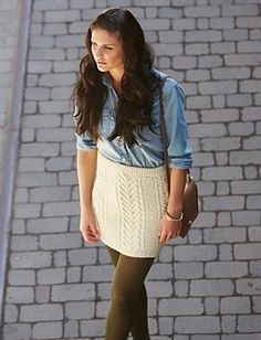 Skirting Around pattern by Patons Step up your fall wardrobe with this stylish cable knit skirt. (Yarnspirations) Record of Knitting String spinning, weav. Knitting Patterns Free, Knit Patterns, Free Knitting, Knitting Wool, Skirt Pattern Free, Free Pattern, Knit Skirt, Knit Dress, Sweater Skirt
