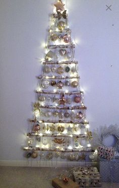 Gorgeous alternative natural Birch hanging Christmas tree (Large) by relicsrustrocknroll Large £70 Medium £45 relicsrustrocknroll@hotmail.com Hanging Christmas Tree, Christmas Wall Hangings, Christmas Decorations, Holiday Decor, All Things Christmas, Christmas Time, Xmas, Christmas Ideas, Hanging Ladder