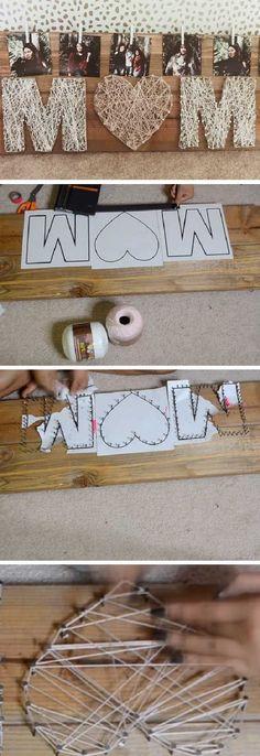 Mutter String Art - Diy Gift For Girls Ideen Kids Crafts, Diy Mother's Day Crafts, Mothers Day Crafts For Kids, Mother's Day Diy, Diy For Kids, Mothers Day Gifts From Daughter Diy, Mother Day Gifts, Mother Birthday Gifts, Art Crafts