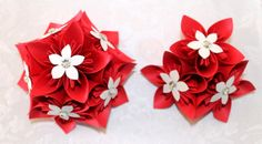 Red and White Corsage and Boutonniere by EverBloomsFlowers on Etsy, $30.00