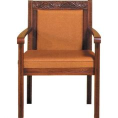 """CHURCH Furniture - Sanctuary Chairs, Celebrant Chairs, Wedding Kneelers, Communion Tables Beautiful Sanctuary wood chair with scalloped detailing for Churches.  Size: 27 x 23 x 50"""" H   Please visit our webstore to view a great selection of Church chairs, Altars, Communion tables, wedding kneelers, lecterns, Credence tables and more at:  http://reigninggifts.com/CHURCH%20FURNITURE.htm"""