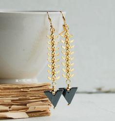 Black Chevron & Gold Chain EARRINGS