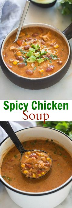 This tex-mex inspired Spicy Chicken Soup is bursting with rich, deep flavor. It's hearty, and deliciously comforting. A family favorite. via @betrfromscratch