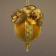 """Flights of Fancy"" by Towers and Turrets - Topaz Gold Velvet Ball Christmas Ornament with Feathers - Handmade by Towers and Turrets Ornaments"