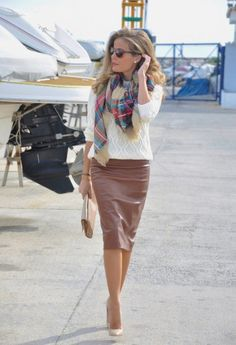 I think I would look phenomenal in an outfit like this - but I'm not really brave enough to dress this way. And I'm not super comfortable in skirts generally...I have two beautiful pencil skirts like this in camel and black but I never wear them. -Casey