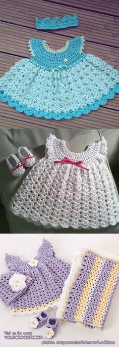 Angel Wing Pinafore Baby Sets - Dress, Hat and Booties [Free Pattern and The Best Ideas] | Your Crochet