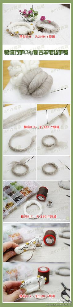 DIY Retro Wool Felt Bracelet