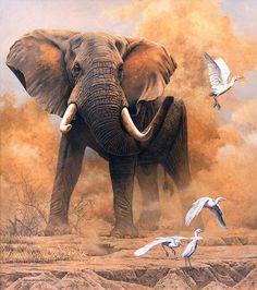 Elephant Painting | Elephant in Dust – 2006 Johan Hoekstra Wildlife Art | Johan Hoekstra ...: