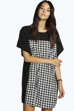 Amber Dogtooth Panel Shift Dress at boohoo.com