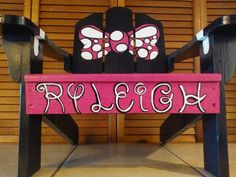 "Headed to a customer in Connecticut! Personalized Minnie Mouse inspired small childrens wooden adirondack chair! With ""Ryleigh"" spelled in ""Disney style"" lettering :) Requests always welcome! https://www.facebook.com/buggybeandesigns/"