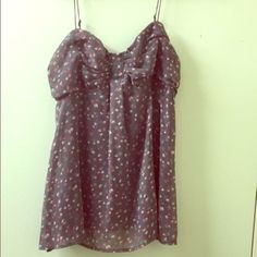 Floral flowy tank Grey with pink flowers tank top, great condition. American Eagle Outfitters Tops Tank Tops