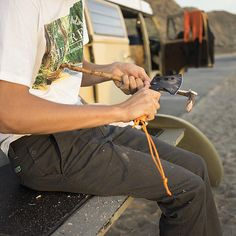 Tribesman Hudson Ritchie whittling away in our Scout Pant. Vintage washed corduroy fabric made with 98% cotton and 2% spandex. Available in stores and online at http://www.hippytree.com/shop/pants/scout-pant-3.html. #surfandstone