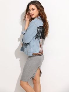 Blue Embroidered Back Denim Jacket With Fringe Detail