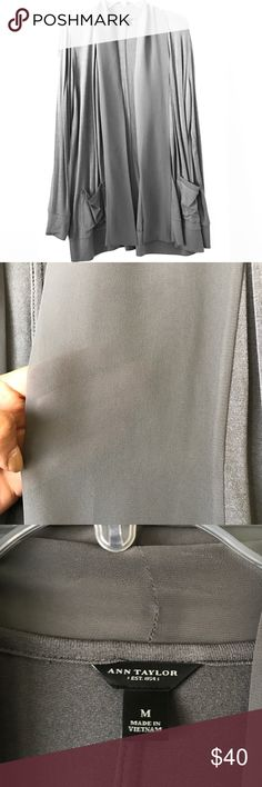 Classic Ann Taylor Cardi Ann Taylor • gray Cardi • sheer details on neckline & pockets - details in pics • longer in length • very comfy, lighter gray - easier to see color in the close ups • like new Ann Taylor Sweaters