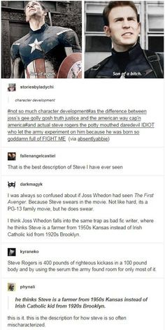 In other words Joss Whedon saw Captain America as the Superman equivalent in the MCU. As a counterbalance to Tony Stark's Batman-esque character. He failed to realise that Marvel characters tend to be more conplex than DC characters. Marvel Dc Comics, Marvel Avengers, Marvel Funny, Marvel Memes, Marvel Tumblr, Dc Animated Series, Dc Movies, Bucky Barnes, Steve Rogers
