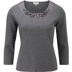 CC Petite Embellished Trim Jersey Top, Graphite featuring polyvore fashion clothing tops petite embellished tops cc tops 3/4 length sleeve tops three quarter sleeve tops jersey tops