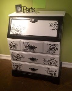 Rogue Rose Reproductions, by Cahley. : Black and white painted & stenciled secretary desk. Black Painted Furniture, Grey Furniture, Vintage Furniture, Furniture Ideas, Desk Ideas, Painting Furniture, Unique Furniture, Desk Redo, Desk Makeover