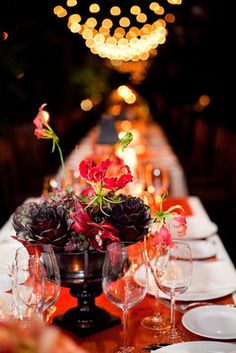 #purple #artichoke #orange centerpiece for a fall wedding (Photo by Sarah Postma Photography)