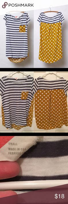 Anthropologie pattern pop tee size small Gently used. Adorable polka dots and stripes. Size small. 🙆🏻no trades or off site transactions. Since I have a variety of sizes I do not model🙅🏻Low ball offers will be denied.😁I have an illness that sometimes requires serious medical attention & 2 little ones 👶🏼👶🏻 so if I don't respond I'm either very ill that day 🚑 or have been kidnapped by my kids.Thank you for shopping my closet! 💋 Anthropologie Tops