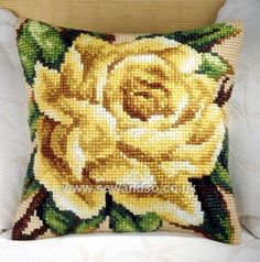 Buy+Yellow+Rose+Cushion+Front+Chunky+Cross+Stitch+Kit+Online+at+www.sewandso.co.uk