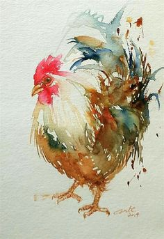 """I sure enjoy a beautiful rooster painting. Daily Paintworks - """"White Rooster"""" - Original Fine Art for Sale - © Arti Chauhan Chicken Painting, Chicken Art, Watercolor Bird, Watercolor Animals, Watercolor Drawing, Arte Do Galo, Art Aquarelle, Rooster Art, Rooster Painting"""