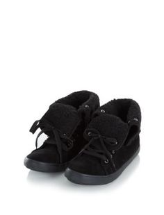 Black (Black) Black Faux Shearling Cuff Hi-Tops    293044801   New Look