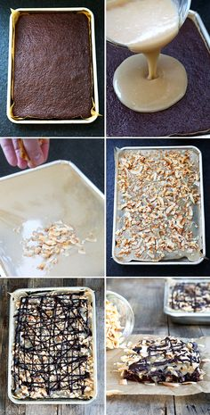 Samoas-Style Gluten Free Chocolate Sheet Cake, Step by Step
