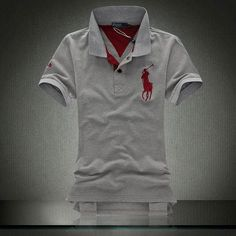 Ralph Lauren Men's White Grey Big Pony Polo