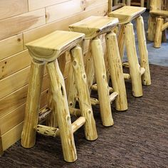 Cedar Lake Half Log Bar Stool by JHE's Log Furniture Place   Cedar Log Bar Stool