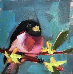Rose Breasted Grosbeak no. 19 Original Oil Painting by Angela Moulton