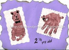 Handprint Bear and Footprint Teddy Bear - September 9th is Teddy Bear Day