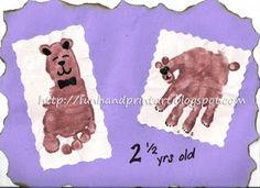 Fun Handprint and Footprint Art : Handprint Bear and Footprint Teddybear
