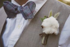 Southern Wedding using green apples and cotton accents LOVE the cotton green tomatoes, wedding ideas, bow ties, country weddings, southern weddings, rustic weddings, cotton boutonnier, boutonnieres, big day