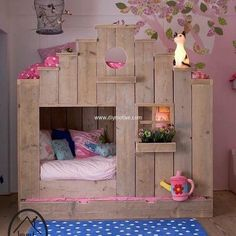 This amazing DIY pallet wood toddler aboard is perfect for your little cutie pie. Its a small cottage theme, with sleeping space beneath and provision of mattress on top of it too. You can customize this theme into the one you adore.  #pallets #woodpallet #palletfurniture #palletproject #palletideas #recycle #recycledpallet #reclaimed #repurposed #reused #restore #upcycle #diy #palletart #pallet #recycling #upcycling #refurnish #recycled #woodwork #woodworking