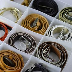 organizing belts tip from @Nicole Hodel National. Use in the kitchen? Or other areas of your house.