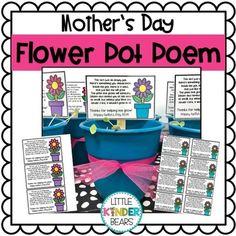 Mother's Day Flower Pot Poem by Little Kinder Bears Flower Seeds, Flower Pots, Mothers Day Flower Pot, Mom Poems, Simple Gifts, Craft Stick Crafts, Happy Mothers Day, Gifts For Mom, Planting Flowers