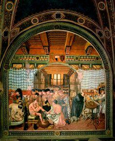 Alla pagina https://picasaweb.google.com/110716801192989849499/LaSalaDelPellegrinaioDelSantaMariaDellaScala è disponibile il ciclo completo degli affreschi del Pellegrinaio del Santa Maria della Scala. Nella foto: Domenico di Bartolo - Cura e governo degli infermi (1440-1441)