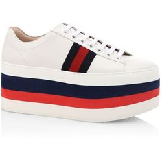 Gucci Peggy Leather Rainbow Platform Sneakers (15,880 MXN) ❤ liked on Polyvore featuring shoes, sneakers, leather lace up sneakers, leather platform shoes, platform lace up shoes, platform sneakers and rainbow shoes