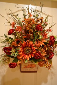 Pumpkin Harvest Door Arrangement by kristenscreations on Etsy, $75.00