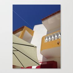 Albufeira, yellow, blue Stretched Canvas by Sébastien BOUVIER - $85.00 Blue Art, Opera House, Stairs, Art Prints, Stretched Canvas, Yellow, Building, Home Decor, Art Impressions