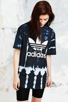 Adidas Originals Tie-Dye Trefoil Tee in Black - Urban Outfitters