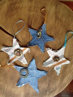 Use old denim jeans to make Christmas ornaments >> http://www.diynetwork.com/how-to/make-and-decorate/crafts/2015-pictures/rustic-christmas-decorations-made-inexpensively-from-upcycled-it?soc=pinterest