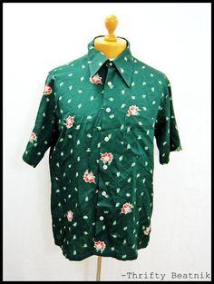 Vintage 1970s 70s AMAZING Floral Pattern Disco Shirt Large   eBay
