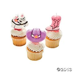 Pink Cowgirl Cake Topper Candles