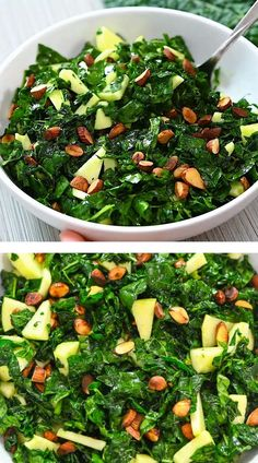 This Amazing Kale Salad is so scrumptious. Made with roasted almonds and crisp apples, it's just bursting with delicious flavors. FOLLOW Cooktoria for more deliciousness! If you try my recipes - share photos with me, I ALWAYS check!