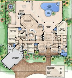 Magnificent Covered Lanai - 66316WE | Florida, Mediterranean, Luxury, Photo Gallery, Premium Collection, 1st Floor Master Suite, Butler Walk-in Pantry, CAD Available, Den-Office-Library-Study, In-Law Suite, PDF, Split Bedrooms, Wrap Around Porch | Architectural Designs