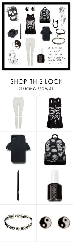 """""""Black and White"""" by amazingxemma ❤ liked on Polyvore featuring Topshop, Zara, Mi-Pac, MAC Cosmetics, Essie, Accessorize, The Rogue + The Wolf and Gypsy Warrior"""