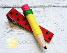 Pencil Hair Clip, Pencil Hair Bow, School Hair Clip, Preschool Hair Clip,