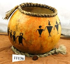 Number 11136 Gourd bowl with Many Friends by southwestgourdart, $65.00