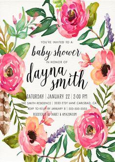 Girl Baby Shower Invitation Unique Boho Feather by KReynaDesigns